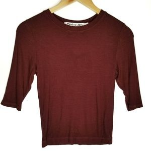 Michael Stars Ribbed Cropped Burgundy Top Small